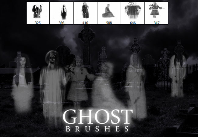 Spooky ghost Photoshop brushes