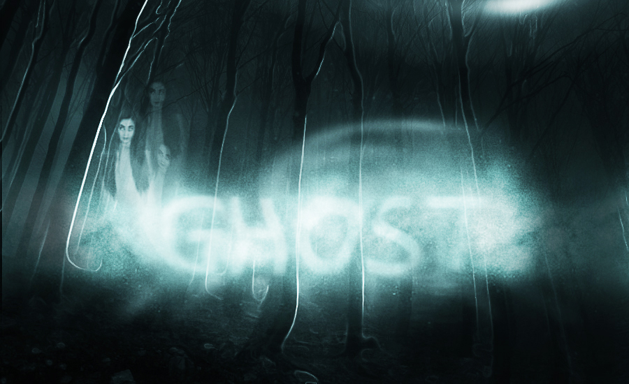 Photoshop tutorial result, photo manipulation with the ghost of a girl on a forrest background with enhanced lighting.