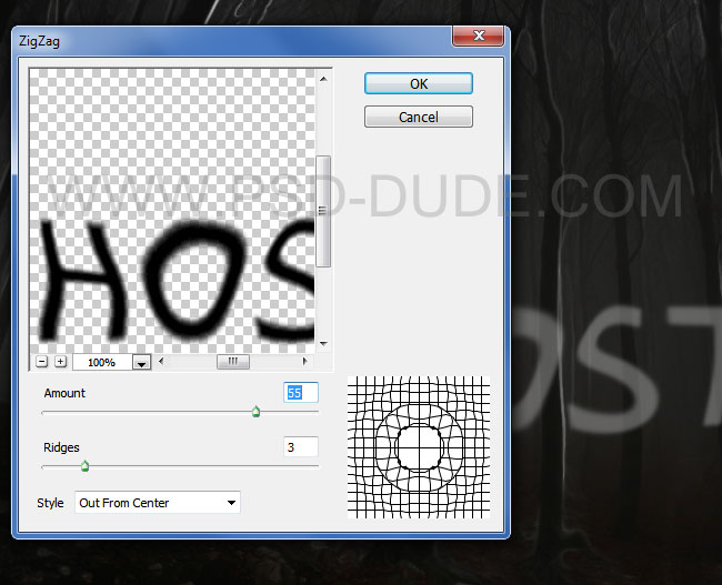 Distorted ghost text effect using Photoshop Distort ZigZag filter