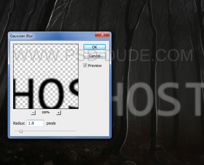 Spooky ghost text effect with Gaussian blur
