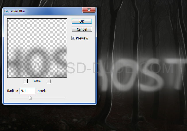 Gaussian blur applied on ghost text effect