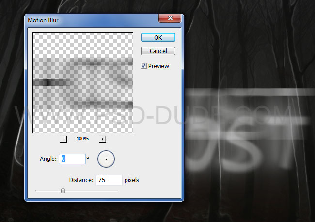Spoooky Photoshop text effects extra layers Motion Blur filter