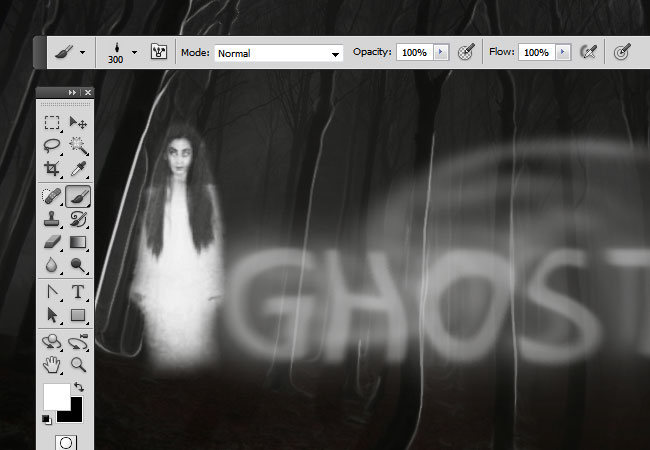 Spooky ghost of a girl added with Photoshop brushes