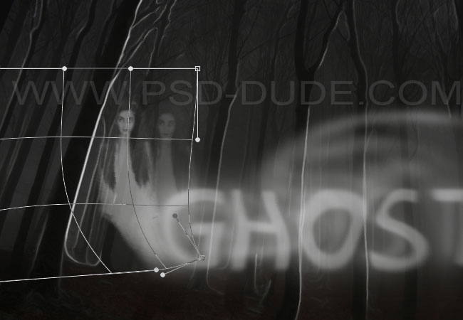 Photoshop warped spooky ghost silhouette