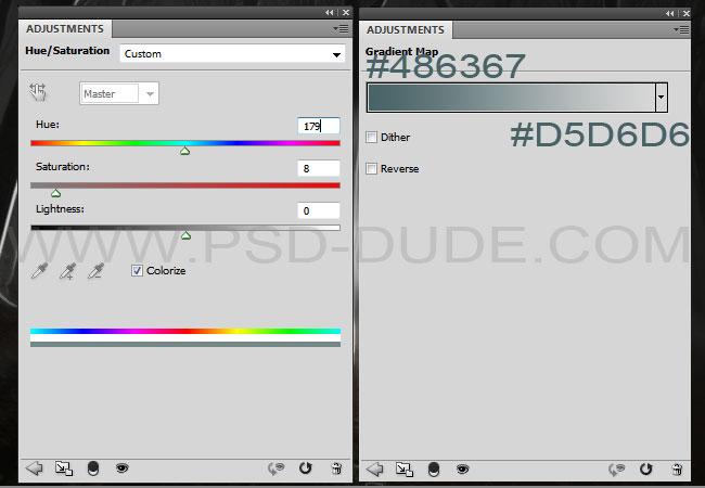 Adjust colors using Hue/Saturation adjusments and Gradient Map