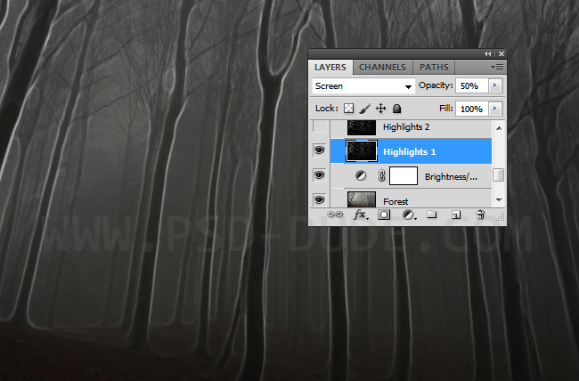 Blend trees and spooky tree contours by using Screen Photoshop blending mode.
