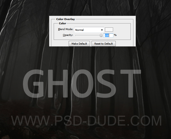 Spooky ghost text layer with Color overlay and opacity settings
