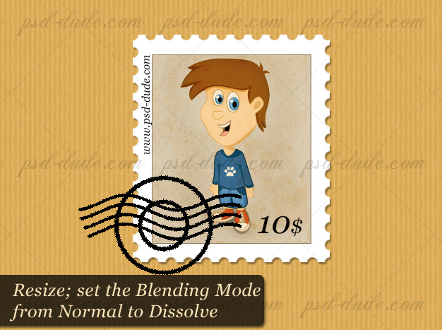Rubber Stamp on Postage Stamp Effect Photoshop
