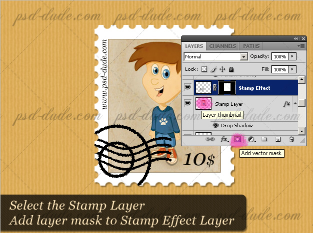 Add Layer Mask to the Postage Stamp Effect