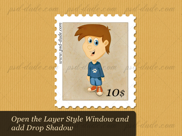 Add Drop Shadow to the Photoshop stamp effect