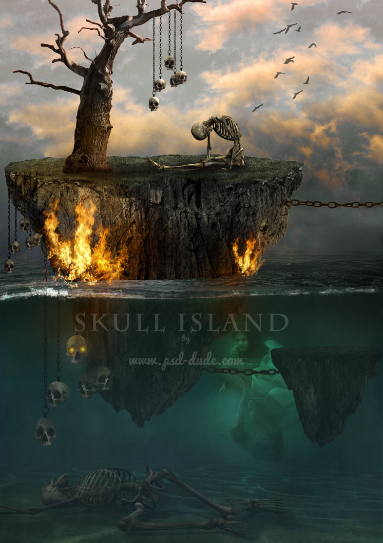 Underwater Skull Island Photoshop Tutorial by psddude photoshop resource collected by psd-dude.com from deviantart