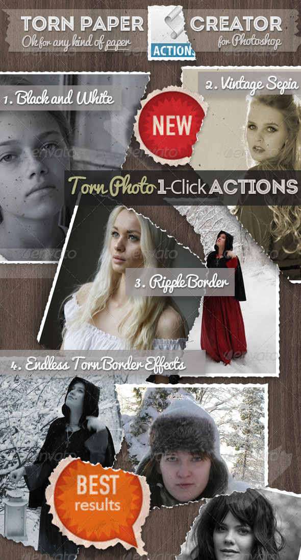 Torn Paper and Tear Effects Photoshop Actions