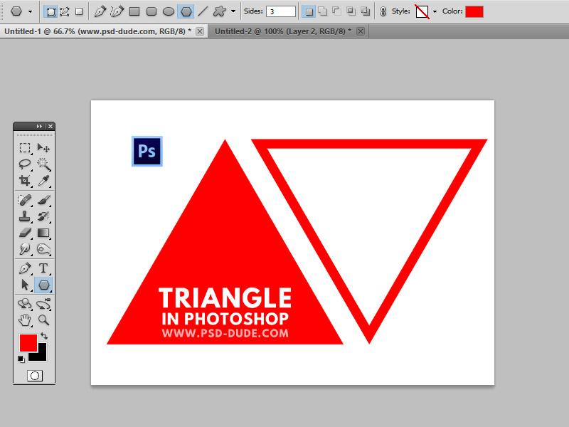Photoshopで三角形を作成する方法