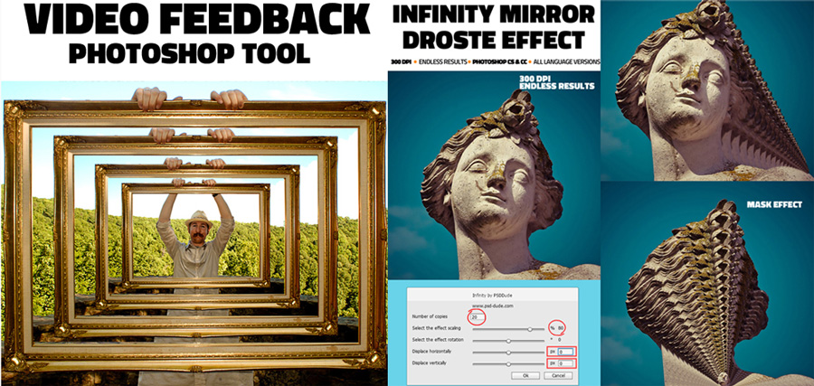 video feedback infinity mirror photoshop action