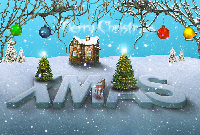 Christmas Snow Photoshop Text Effect