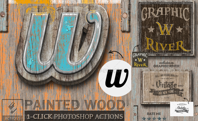 Painted Wood Photoshop Style Actions