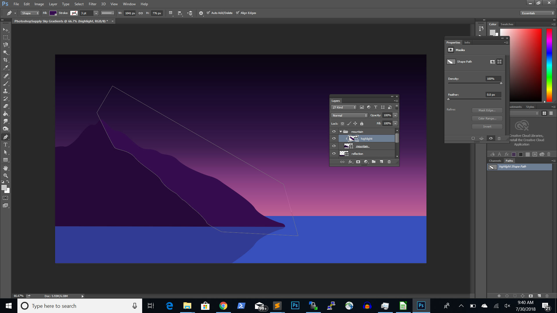 draw vector mountain highlights