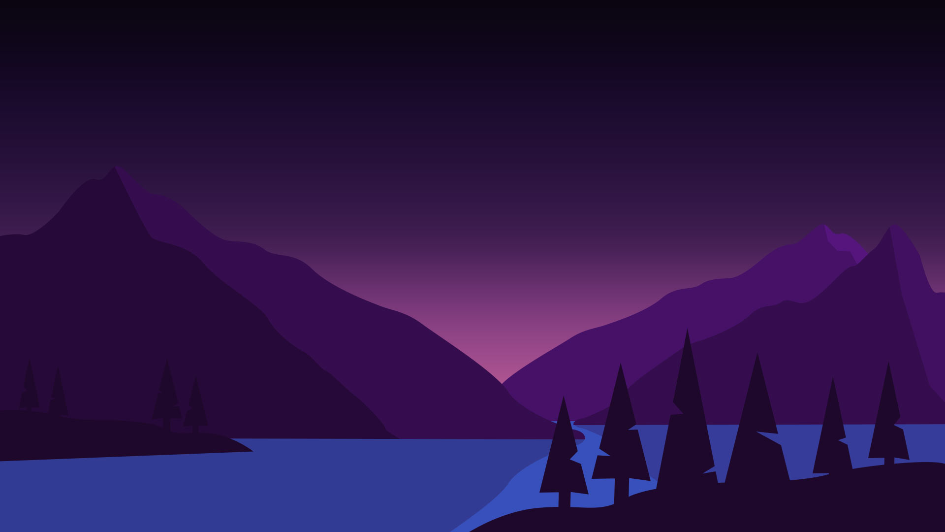 draw vector trees and vector island silhouette
