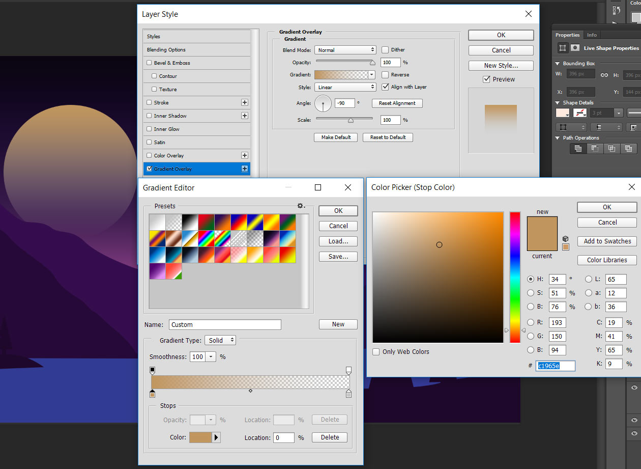 draw a vector sun shape with gradient colors