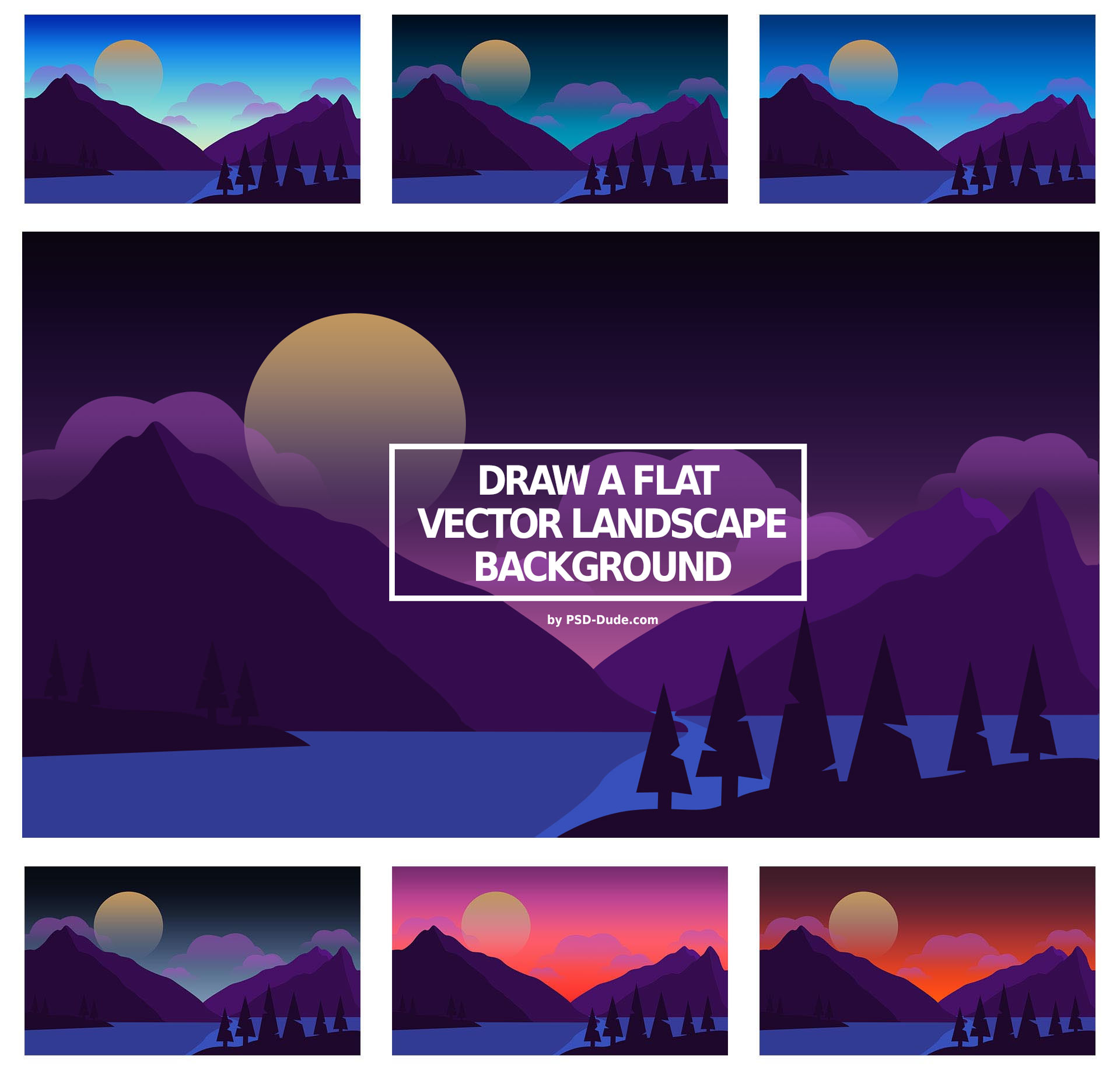 How To Draw A Flat Vector Landscape In Photoshop