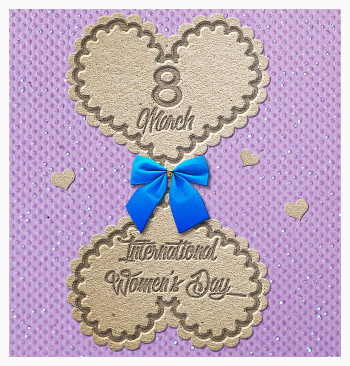 Happy Womens Day Greeting Image in Photoshop
