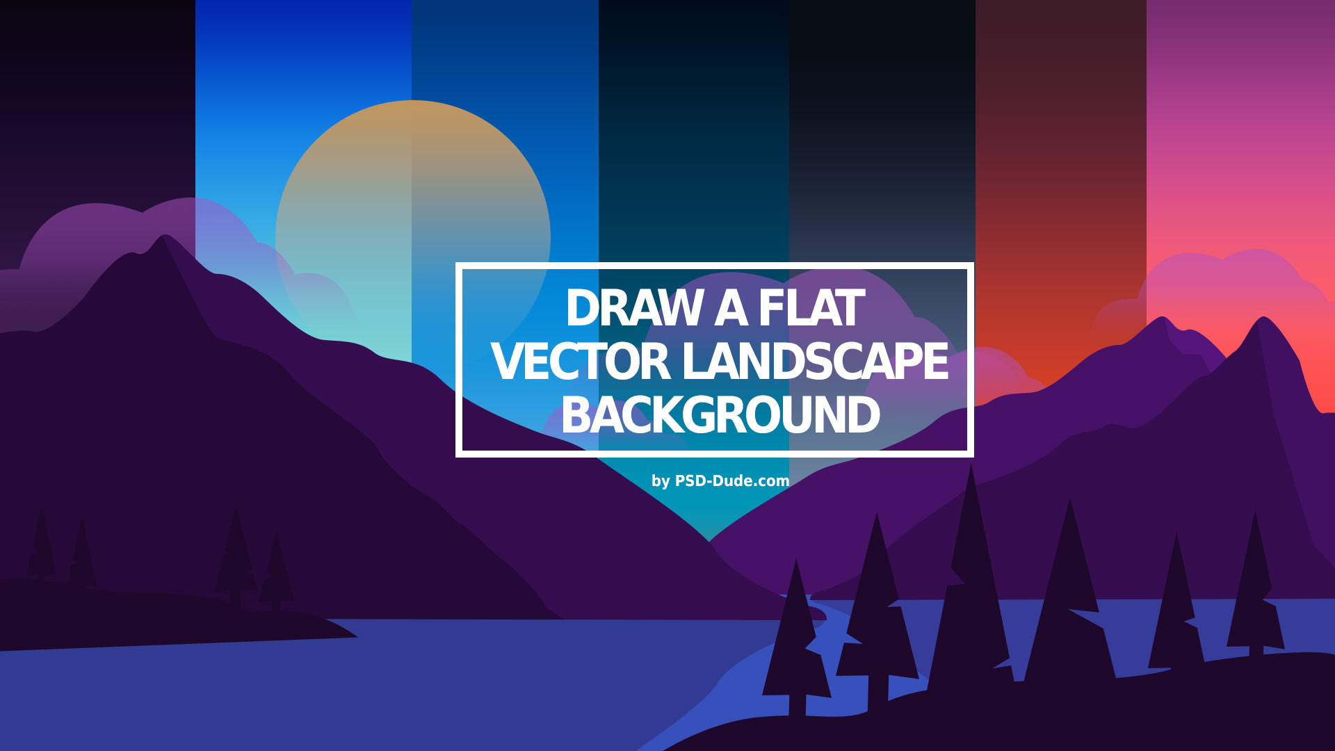 mountain vector landscape with different sky backgrounds