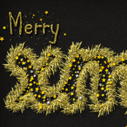 Golden Tinsel Christmas Text Effect in Photoshop