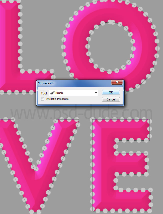 stroke brush dotted love text