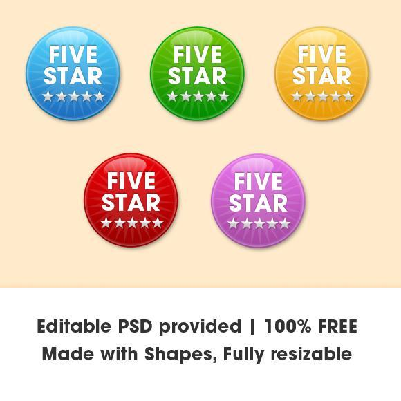 Badge and Button Vector PSD File