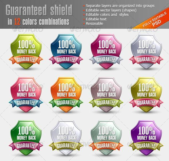 Glossy Shield Badge Template PSD