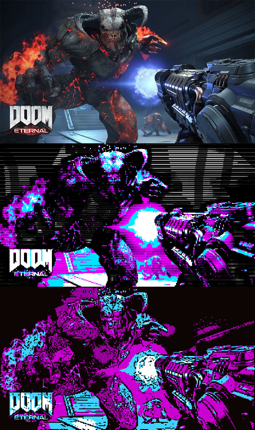 Doom Eternal Wallpaper Retro CGA Colors