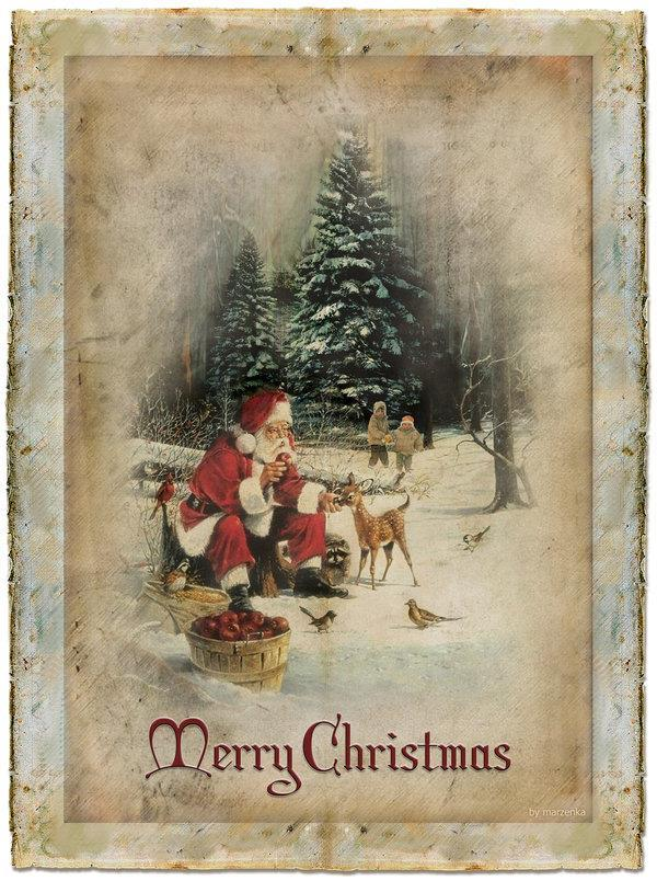 Merry Christmas Old Greeting Card