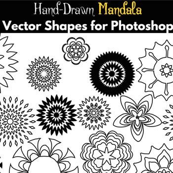 Mandala Flower Vector Shapes for Photoshop psd-dude.com Resources