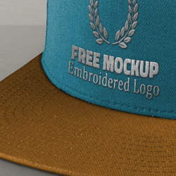 Free Cap Mockup PSD with Realistic Embroidered Logo psd-dude.com Resources