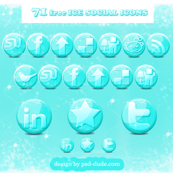Free glossy ice social media icons for the winter season - photoshop resource by psd-dude.com