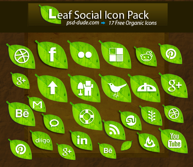 Free leaf social icon pack photoshop resource by psd-dude.com