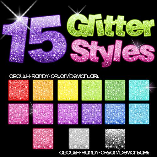 15 Glitter Styles For Photoshop by UnlimitedPatrick photoshop resource collected by psd-dude.com from deviantart