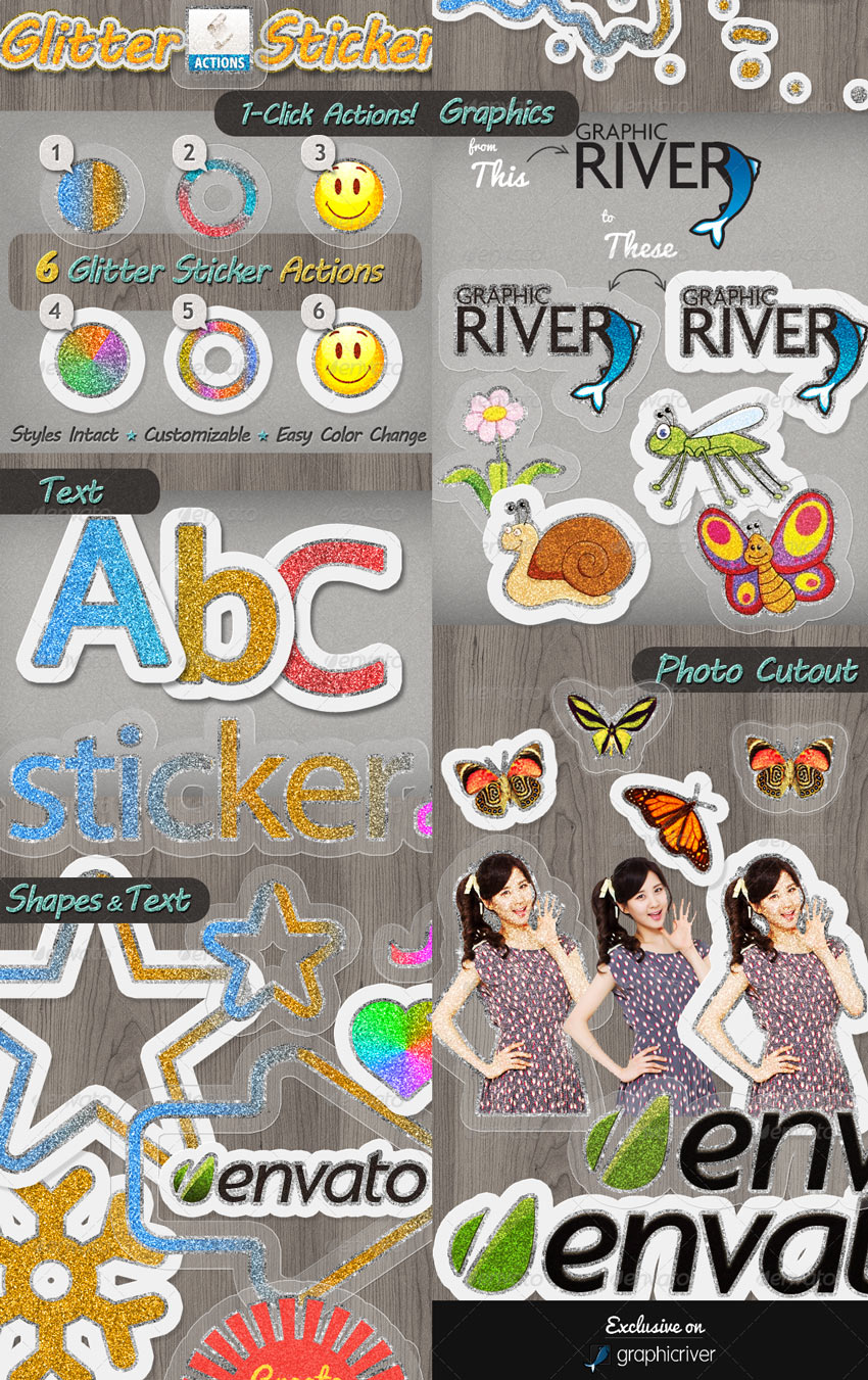 Glitter Sticker Photoshop Actions