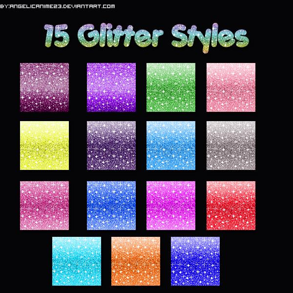 Glitter Styles by angelicanime23 photoshop resource collected by psd-dude.com from deviantart