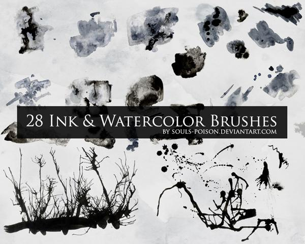 28 Ink and Watercolor Brushes by souls-poison photoshop resource collected by psd-dude.com from deviantart