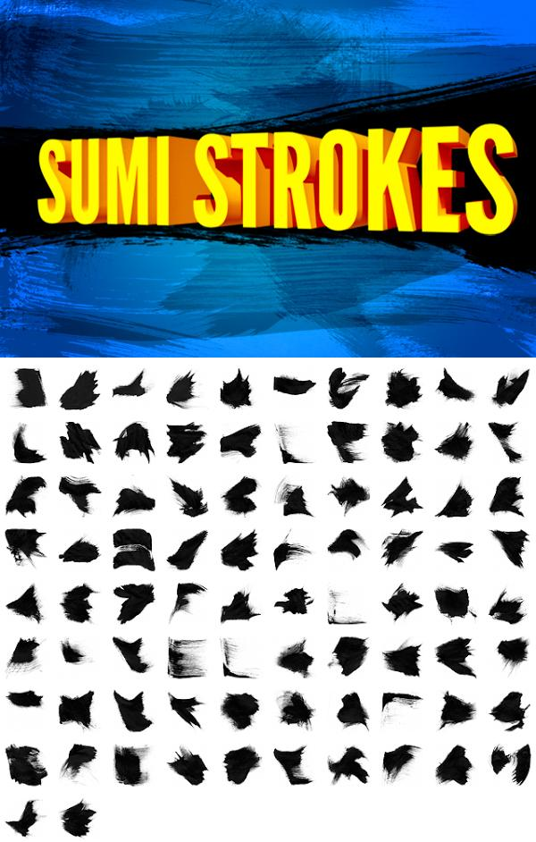 82 Sumi Strokes by dennytang photoshop resource collected by psd-dude.com from deviantart