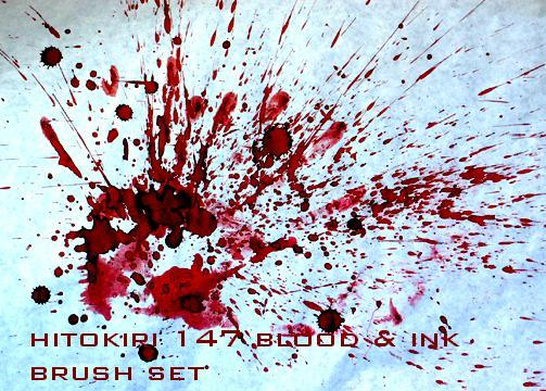 Blood and Ink Brushset 1 by Hitokiri147 photoshop resource collected by psd-dude.com from deviantart