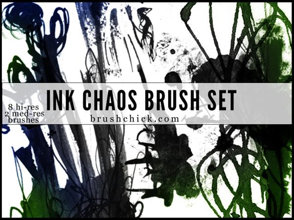 Ink and Chaos Brush Pack by brushchick photoshop resource collected by psd-dude.com from deviantart