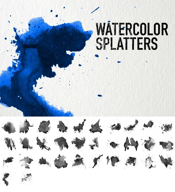 Watercolor Splatters by dennytang photoshop resource collected by psd-dude.com from deviantart