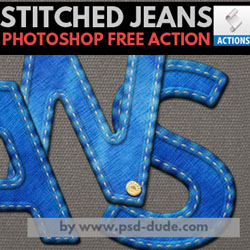 Stitched Jeans Denim Photoshop Free Action psd-dude.com Resources