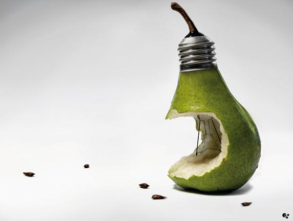 Surreal Morphing Pear with Light Bulb Photoshop Artwork