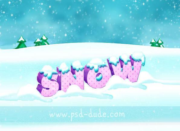 Christmas Card 3D Text Effect With Snow Made In Photoshop