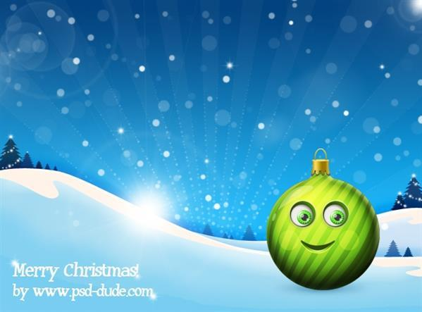 Christmas ball cartoon character in photoshop