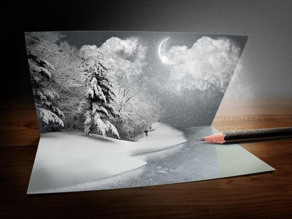 Pop Up Christmas Card Picture In Photoshop