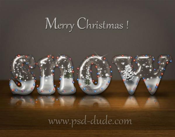Christmas snow globe photoshop text effect